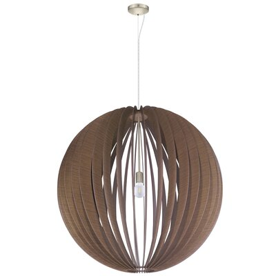 Waltham 1-Light Globe Pendant Finish: Satin Nickel, Shade Color: Dark Brown