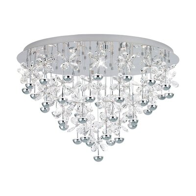 Purcell Crystal Drop Ceiling 43-Light LED Semi Flush Mount