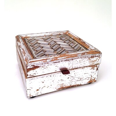 Wooden Trinket Box With Bead Design (set Of 2)