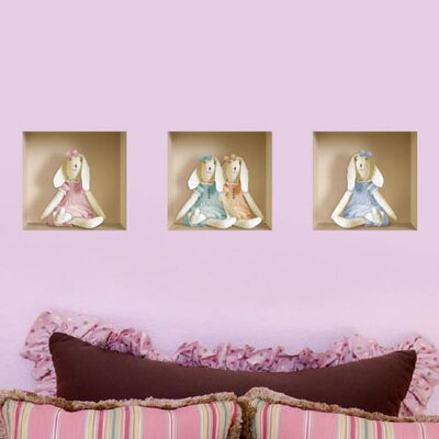 3D Effect Stuffed Bunny Wall Mural 014