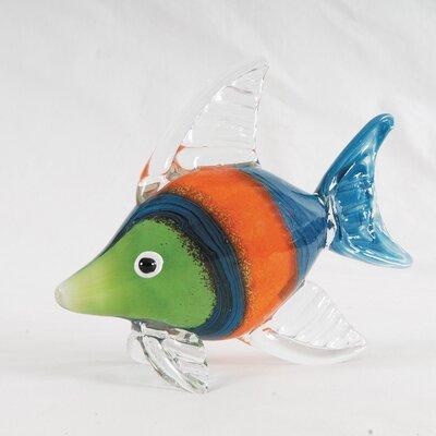 Striped Art Glass Fish Figurine (set Of 2)