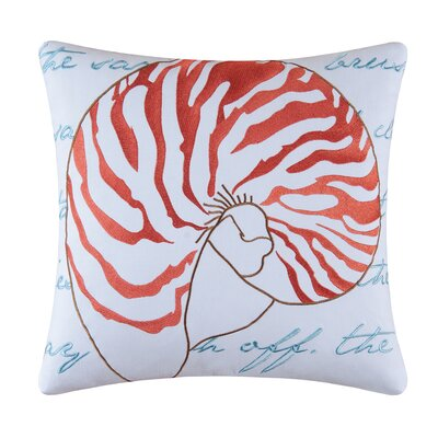 Nautilus Shell Embroidered Cotton Throw Pillow