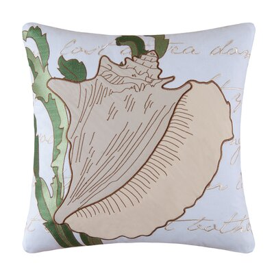Conch Shell Embroidered Cotton Throw Pillow