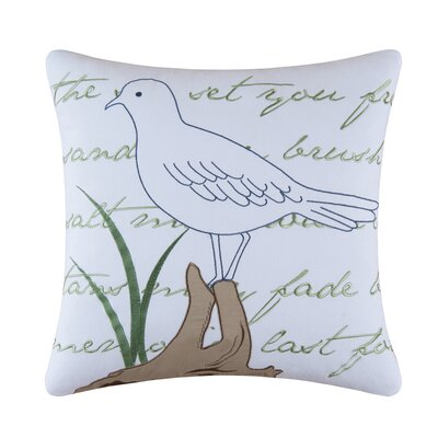 Seagull Embroidered Cotton Throw Pillow