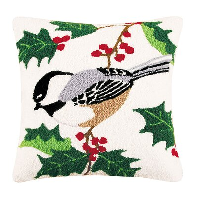 Chickadee Hooked Throw Pillow