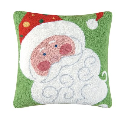 Jolly Santa Hooked Throw Pillow