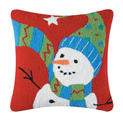 Festive Frosty Hooked Cotton Throw Pillow