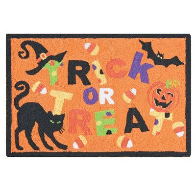 Trick Treat Orange Hooked Area Rug