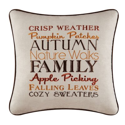 Suzy Autumn Crisp Weather Embroidered Throw Pillow