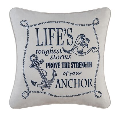 Fair Winds Lifes Roughest Storm Embroidered 100% Cotton Throw Pillow