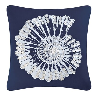 Fair Winds Nautilus Shell Embellished 100% Cotton Throw Pillow