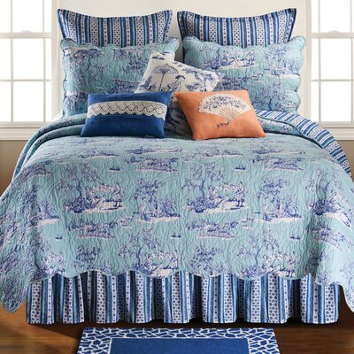 Hampstead Toile Bed Skirt Size: Queen