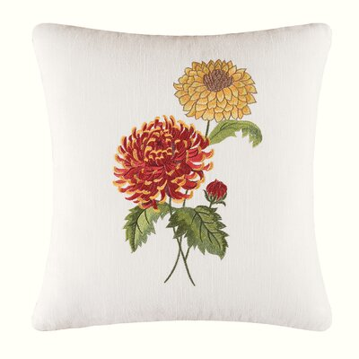 Madeline Mums Embroidered Cotton Throw Pillow