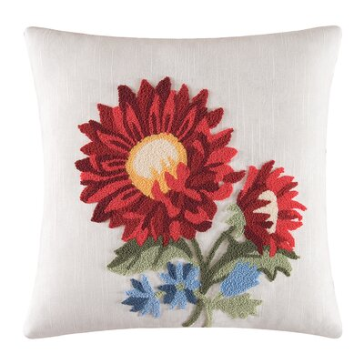 Silvester Aster Embroidered Cotton Throw Pillow