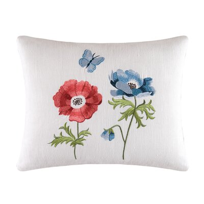 Madeline Anemone Embroidered Cotton Lumbar Pillow