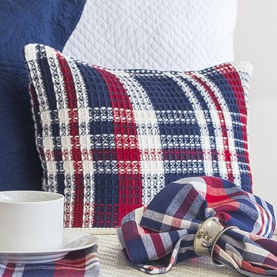 Harbor Plaid Cotton Throw Pillow