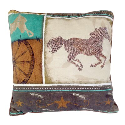 Rustic Horse Cotton Throw Pillow