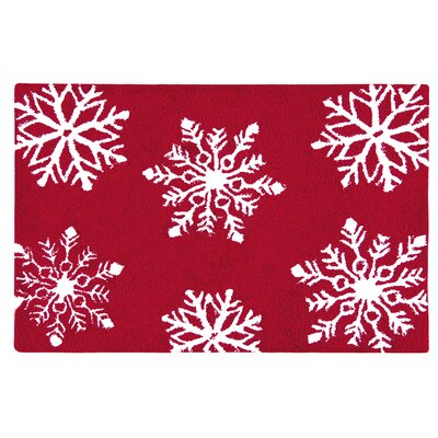 Winter Snowflakes Hooked Rug Rug Size: Rectangle 2 x 3