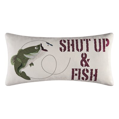 Shut up & Fish Embroidered Pillow