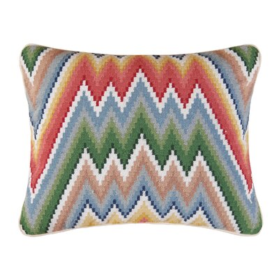 Flame Stitch Accent Wool Lumbar Pillow