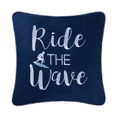 Surfers Cove Ride the Wave Cotton Throw Pillow