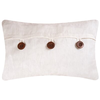 Fleming Button Envelope Linen/Cotton Lumbar Pillow Color: White