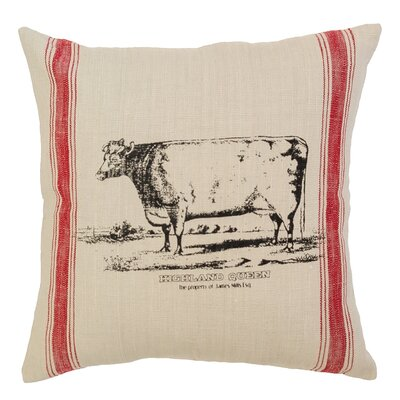 Cow Feed Sack Cotton Throw Pillow