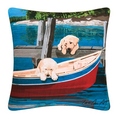 Puppies & Canoe Indoor/Outdoor Throw Pillow