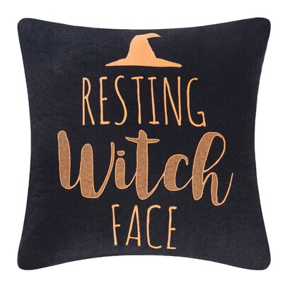 Resting Witch Face Halloween Throw Pillow