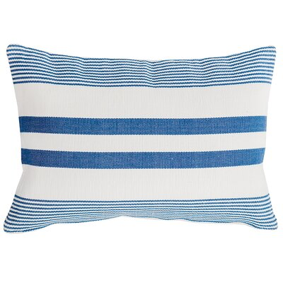 Stripe 100% Cotton Lumbar Pillow Color: Blue/White