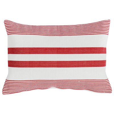 Stripe 100% Cotton Lumbar Pillow Color: Red/White
