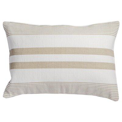 Stripe 100% Cotton Lumbar Pillow Color: Sandstone/White