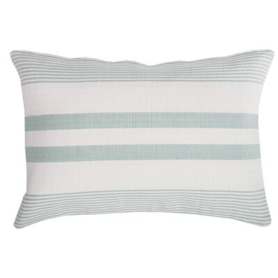 Stripe 100% Cotton Lumbar Pillow Color: Sea Glass/White