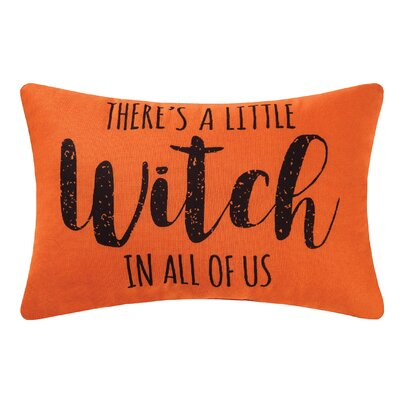 Theres A Little Witch  Halloween Lumbar Pillow