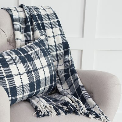 Vensey Plaid Cotton Throw Color: Navy