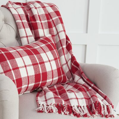 Vensey Plaid Cotton Throw Color: Red