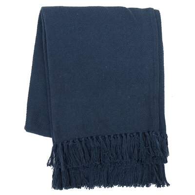 Olban Cotton Throw Color: Navy