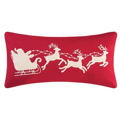Gatefield Santa Sleigh Cotton Lumbar Pillow Color: Red