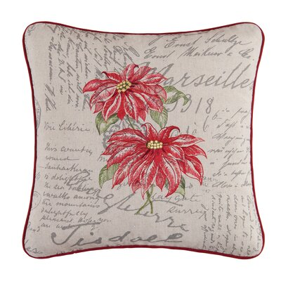 Greentown Poinsettia Throw Pillow