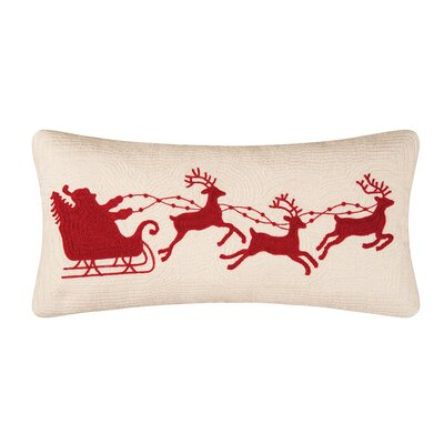 Gatefield Santa Sleigh Cotton Lumbar Pillow Color: Cream