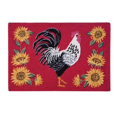 Druzy Rooster Red Area Rug