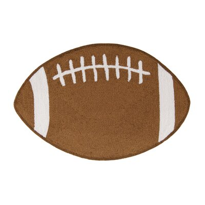 Doll Football Sports Brown Area Rug