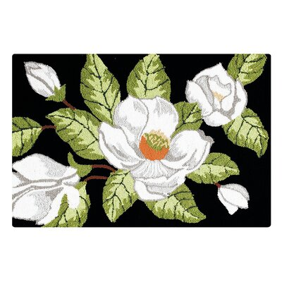 Pfeifer Magnolia on Black Area Rug