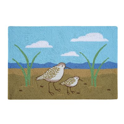 Shymier Sandpipers Coastal Blue/Tan Area Rug