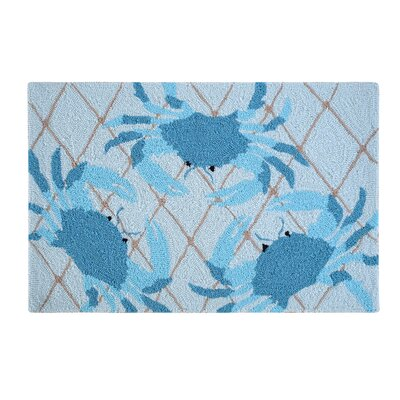 Nazia Netted Crabs Coastal Blue Area Rug