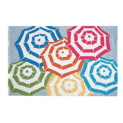 Reginia Beach Umbrellas Coastal Parfait Blue Area Rug