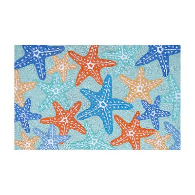 Reita Starfish Coastal Blue Area Rug