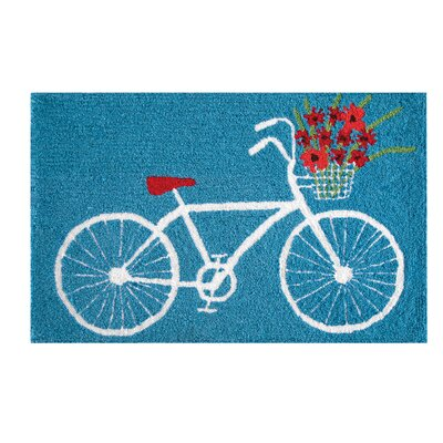 Xandra White Bike Blue Area Rug