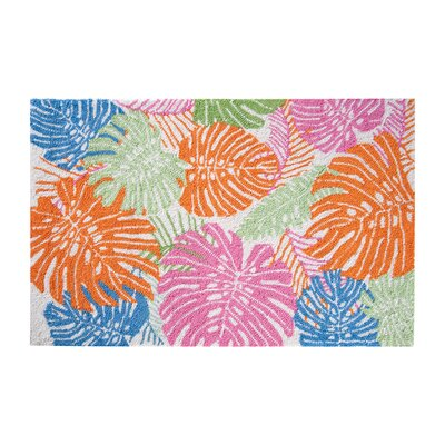 Durham Palm Coastal Blue/Green/Orange Area Rug