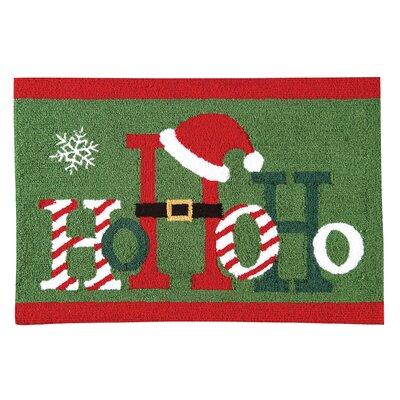 Ho Ho Ho Christmas Parfait Green Area Rug